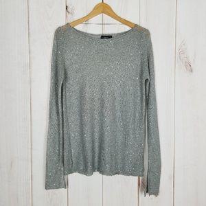 Zara Knit | Gray Sequin Knit Sweater Size Medium